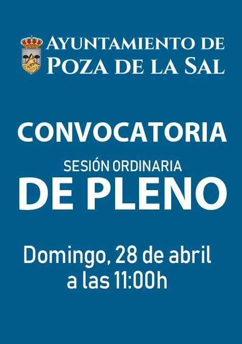 Convocatoria Ordinaria de Pleno el domingo